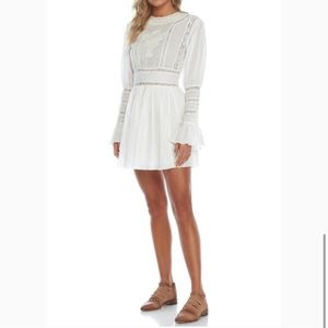 Free People White Embroidered Crochet Dress